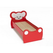 Кровать Одноместная Ясельная для детей Мышонок с рисунком и безопасными бортиками, цвет красный 140х60 см