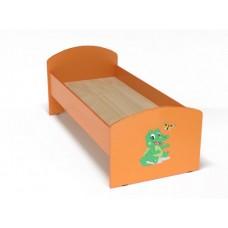 Кровать с рисунком для детей одноместная ясельная с безопасными бортиками, из ЛДСП, цвет оранжевый 140х60 см 62302-19 W48-orange