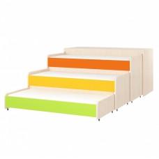 Кровать-трансформер для детей Трехъярусная с дополнительными выкатными спальными местами с крышкой 153x67x82см 61742-19 W49
