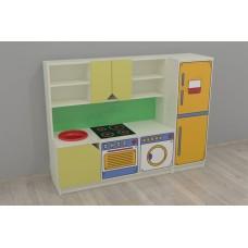Игровая Стенка-Кухня с зоной для детских садов с навесными полками и ящиками для хранения игрушек 160х42х120см 61702-19 W350