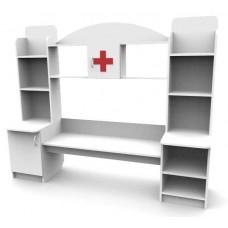 Игровая Стенка Больница для детских садов со столом, аптечкой и полками для хранения игрушек 200х50х150 см