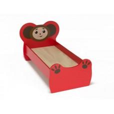 Кровать детская одноместная Чебурашка с рисунком, ясельная, с безопасными бортиками, цвет красный 140х60 см