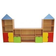 Игровая Стенка Городок для детских садов с полками и ящиками для хранения игрушек, книг и пособий 280х40х162см
