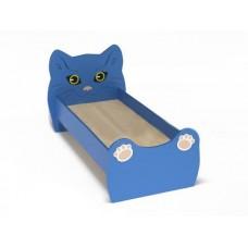 Кровать Одноместная Ясельная для детей Котенок с рисунком и безопасными бортиками, из ЛДСП, синий 140х60 см