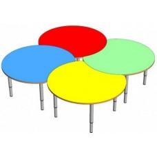Модульный Комплект для детского сада из 4 круглых столиков для игр и занятий творчеством 80х80х46/52/58 см