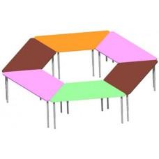 Модульный Стол из Комплекта столов Трапеция из 6 элементов для детского сада для игр и занятий 120x55x46/52/58 см