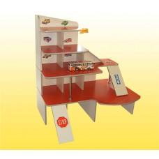 Игровая Стенка для детского сада Автосалон для машинок со спуском и полками для хранения игрушек 120х91х126 см