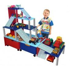 Стенка Паркинг для дома и детских садов с ящиками для кубиков, полками для игрушек и машинок 120х91х126 см 61683-19 W331