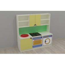 Стенка-Кухня для детсадов: зона для приготовления, раковина, навесные полки и ящики для игрушек 120х42х120 см 61703-19 W351