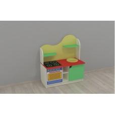 Игровая Стенка-Кухня для дома и детских садов: шкафчики и полки для хранения игрушечной посуды 95х43х110 см 61713-19 W361