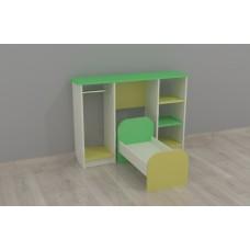 Игровая Стенка для детских садов Спальня с кроваткой, шкафом для одежды и полками для игрушек 104х60х75 см 61723-19 W371