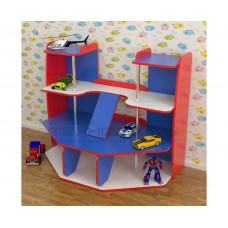 Стенка Гараж для детских садов с игровыми элементами и полками для хранения игрушек и машинок 123х71х101 см 61684-19 W332