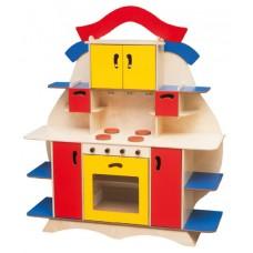 Стенка-Кухня Елена для дома и детского сада с плитой, полками, ящиками для игр и хранения игрушек 143х40х124см 61704-19 W352