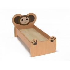 Кровать детская одноместная Чебурашка с рисунком, ясельная, с безопасными бортиками, цвет бук 140х60 см