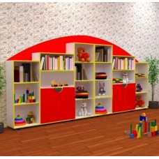 Велика ігрова стінка для іграшок з відкритими полицями і шафками з дверцятами для дитячих садків 360х29х177 см