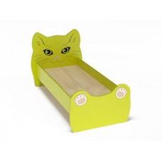 Кровать Одноместная Ясельная для детей Котенок с рисунком и безопасными бортиками, из ЛДСП, салатовый 140х60см