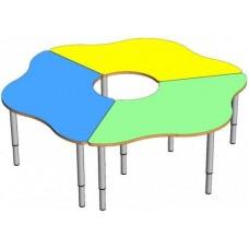 Модульный Комплект из 3 растущих столов для детского сада Ромашка для игр и занятий 160x160x46/52/58 см