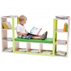 Детский Шкаф для Книг и Игрушек в детский сад и комнату с открытыми полками и диванчиком 1510х820х340 см