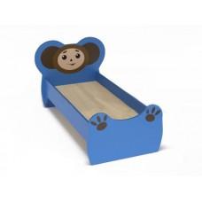 Кровать детская одноместная Чебурашка с рисунком, ясельная, с безопасными бортиками, цвет синий 140х60 см