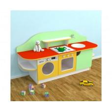 Игровая Стенка-Кухня Золушка для детских садов для сюжетных игр, с полками для хранения игрушек 160х43х80 см 61695-19 W343