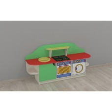 Игровая Стенка-Кухня Золушка для детсадов с зоной для приготовления, полками, ящиками для игрушек 160х43х80см 61705-19 W353