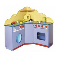 Игровая Стенка Угловой Кухонный Гарнитур для детских садов со шкафами для хранения игрушек 100х30х100 см 61715-19 W363