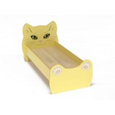 Кровать Одноместная Ясельная для детей Котенок с рисунком и безопасными бортиками, из ЛДСП, желтый 140х60 см