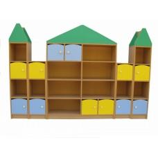 Игровая Стенка для детских садов с открытыми и закрытыми полками для хранения игрушек и пособий 240х30х157 см