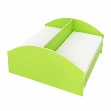 Двухместная одноярусная Кровать для детей с разделительной планкой посередине из ЛДСП, длина 123(143)х62х60 см
