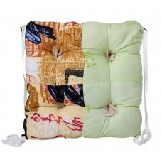 """Подушка на стул или табурет """"Калейдоскоп"""" квадратная с завязками, наполнитель синтепон, разноцветная 35х35 см"""