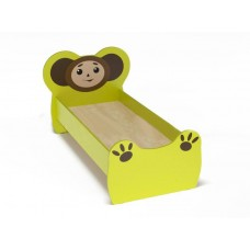 Кровать детская одноместная Чебурашка с рисунком, ясельная, с безопасными бортиками, цвет салатовый 140х60 см