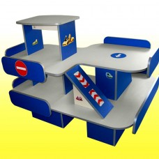 Стенка Автосалон  для детских садов с игровыми элементами и полками для хранения игрушек и машинок 123х97х95 см 61686-19 W334