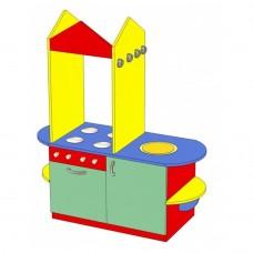Стенка-Кухня Золушка для детских садов с зоной для приготовления, раковиной и полками для игрушек 130х46х130см 61706-19 W354