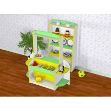Игровая Стенка Магазин с прилавком и витриной-стеллажом для сюжетных игр и хранения игрушек в детсадах H=128см 61716-19 W364