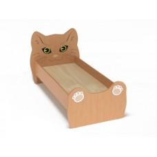 Кровать Одноместная Ясельная для детей Котенок с рисунком и безопасными бортиками, из ЛДСП, цвет бук 140х60 см
