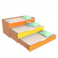 Кровать-тумба-трансформер для детей Трехъярусная с выкатными спальными местами для детских садов 152x65x86 см 61736-19 W42