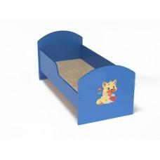 Кровать одноместная для детей ясельная с рисунком и безопасными бортиками из ЛДСП, цвет синий 140х60 см
