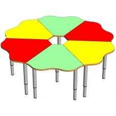 Модульный Комплект Ромашка из 6 столиков-лепестков для детского сада для игр и занятий 140x140x46/52/58 см