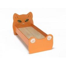 Кровать Одноместная Ясельная для детей Котенок с рисунком и безопасными бортиками, из ЛДСП, оранжевый 140х60см