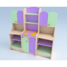 Игровая Стенка-Кухня для детских садов со шкафом-плитой, ящиками и полками для хранения игрушек 131х44х122 см 61707-19 W355