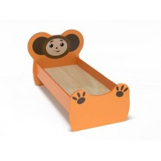 Кровать детская одноместная Чебурашка с рисунком, ясельная, с безопасными бортиками, цвет оранжевый 140х60 см