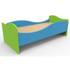 Кровать Одноместная для детей с безопасными бортиками, каркас из ЛДСП, кромка ПВХ, сине-зеленая 140х64х48 см