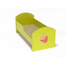 Кровать одноместная для детей ясельная с рисунком и безопасными бортиками из ЛДСП, цвет салатовый 140х60 см