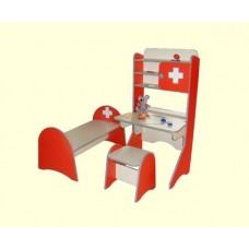 Игровой комплект Больница для детских садов: стол с полками, стул и детская кроватка для сюжетно-ролевых игр 61688-19 W336