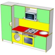 Велика ігрова стінка-Кухня Фіона для дитячих садків з ящиками і шафою для сюжетно-рольових ігор 160х43х125 см