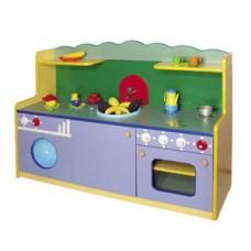 Стенка-Кухня Малая для детских садов для сюжетных игр и хранения игрушек, со шкафами и полками 129х42х85 см 61708-19 W356
