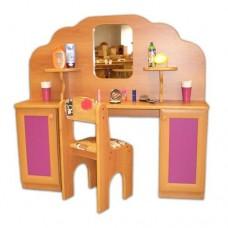 Игровая Стенка Парикмахерская для детских садов: туалетный столик с зеркалом, полками и ящиками 120х30х110 см 61718-19 W366