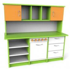 Большая Стенка Игровая Кухня с зоной для приготовления, шкафчиками и полками для детских садов 130х45х120 см 61728-19 W376