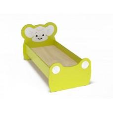 Кровать Одноместная Ясельная для детей Мышонок с рисунком и безопасными бортиками, цвет салатовый 140х60 см