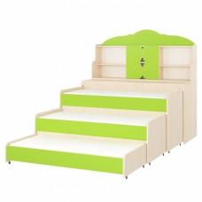 Кровать-тумба-трансформер для детй Трехъярусная  с выкатными спальными местами с надстройкой 154x67x144 см 61748-19 W55